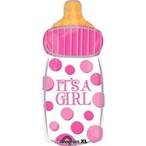Шар из фольги Бутылка Розовая Девочка