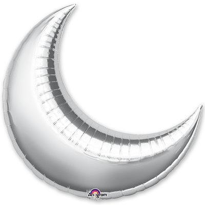 Шар из фольги Месяц металлик серебро