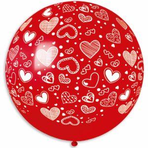 Шар воздушный большой пастель сердечки