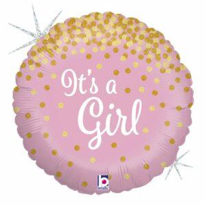 Шар из фольги Круг Это Девочка голография