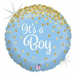 Шар из фольги Круг Это Мальчик голография