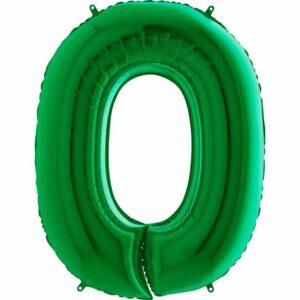 Шар из фольги Цифра 0 Зеленая