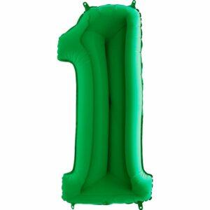 Шар из фольги Цифра 1 Зеленая