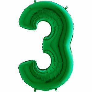 Шар из фольги Цифра 3 Зеленая
