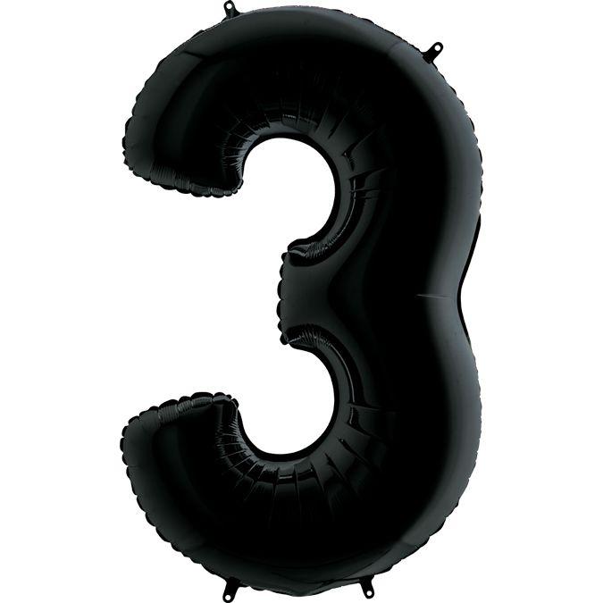 Шар из фольги Цифра 3 Черная