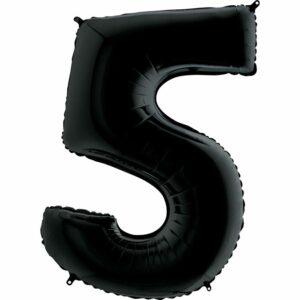 Шар из фольги Цифра 5 Черная