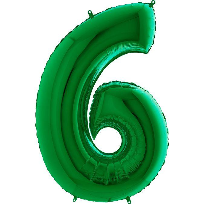 Шар из фольги Цифра 6 Зеленая