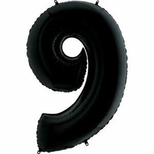 Шар из фольги Цифра 9 Черная