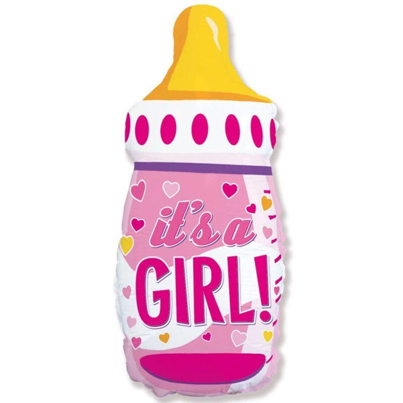 Шар из фольги Бутылка Розовая для девочки