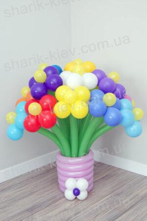 Горшочек с ромашками из воздушных шаров