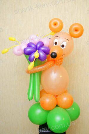Мышка с букетом из воздушных шаров