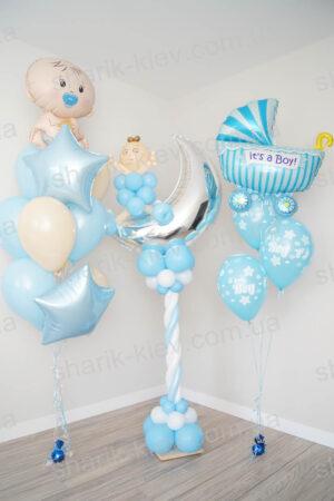 Набор на выписку для мальчика из воздушных шаров