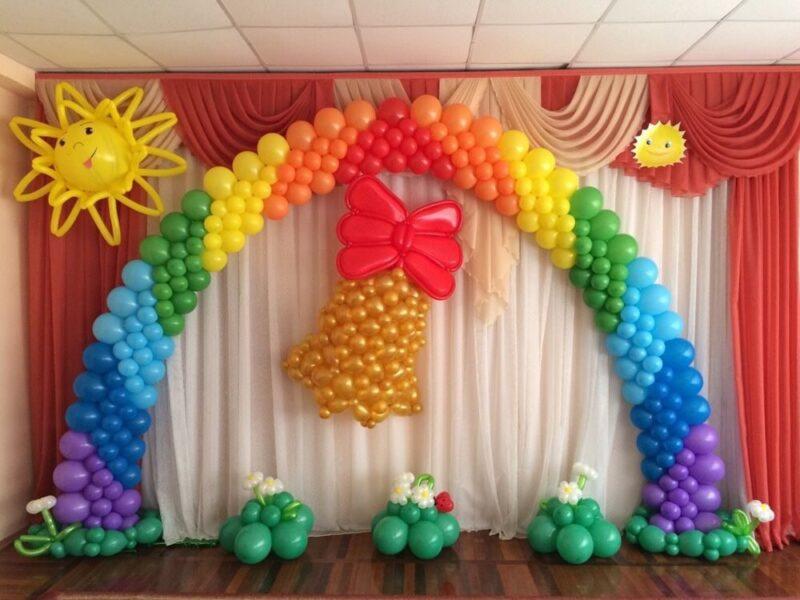 Оформление детского садика Радуга и колокольчик из воздушных шаров