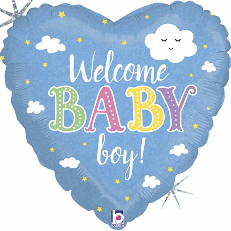 Шар из фольги Сердце Добро пожаловать Мальчик