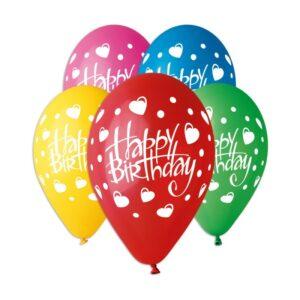 Воздушный шар Happy Birthday сердечки