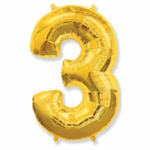 Шар из фольги Цифра 3 Золото