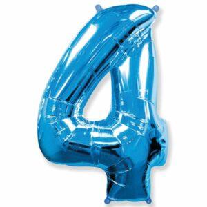 Шар из фольги Цифра 4 Синяя