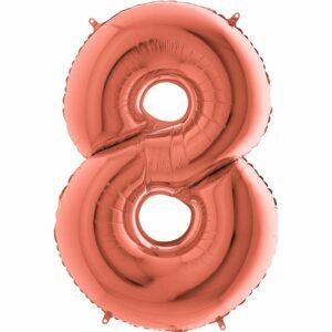 Шар из фольги Цифра 8 Розовое Золото