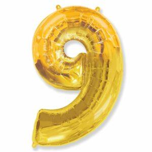 Шар из фольги Цифра 9 Золото