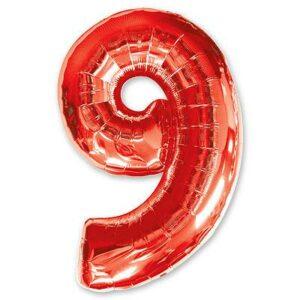 Шар из фольги Цифра 9 Красная