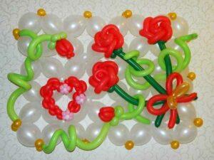 Открытка Розы (вариант 1) из воздушных шаров