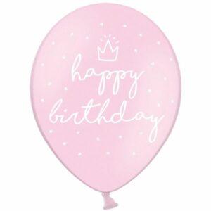 Воздушный Шар Happy Birthday Пастель розовый