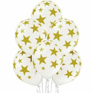 Воздушный Шар Шар Звезды золотистые белый